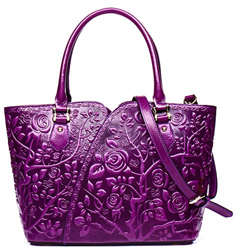 Malirona Embossed Floral Leather Top-handle Handbag Tote Bag Purse Crossbody Bag For Women (Purple) by Malirona