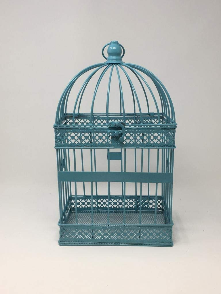 Metal Birdcage Wedding Gift Card Holder Silver White Teal Wedding Card Box Wedding Decor (Teal)
