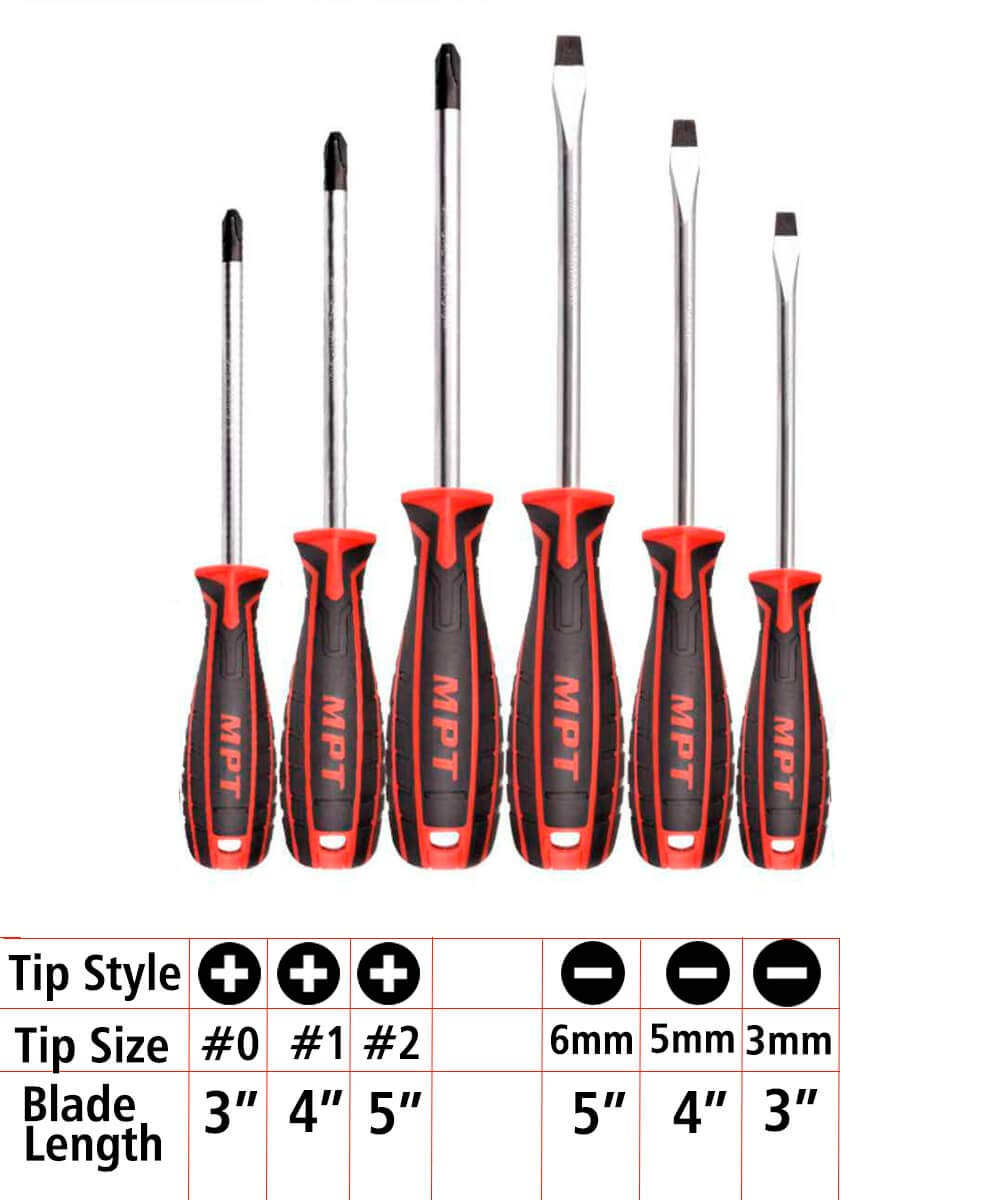 MPT Screwdriver Set, Slotted and Phillips Repair Tool Kit, Havey Duty, Oil-Resistant, Magnetic Tip, NON-Slip, 5-3\
