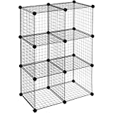 AmazonBasics 6 Cube Wire Storage Shelves - Black
