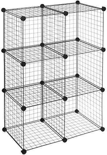 (AmazonBasics 6 Cube Grid Wire Storage Shelves, Black)