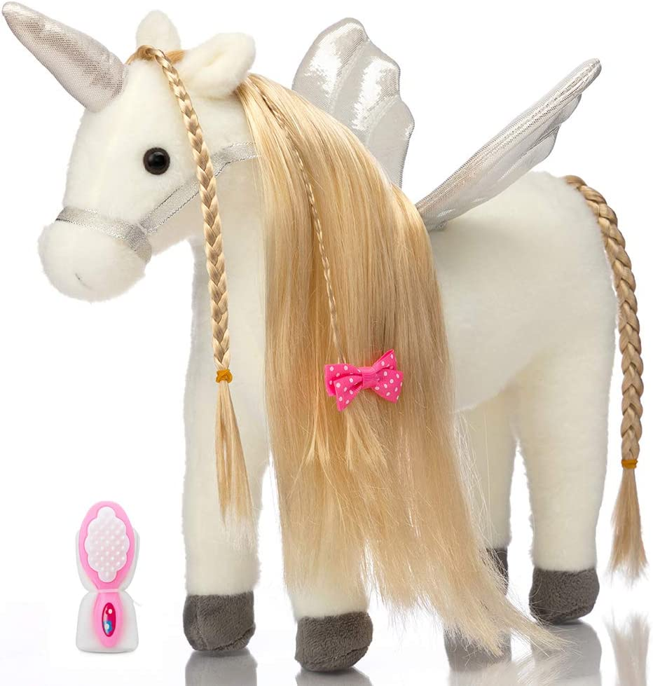 HollyHOME Plush Unicorn Stuffed Animal Pretty Unicorn Plush with Wings Pony Toy Pretend Play Horse 11 Inches Tall White