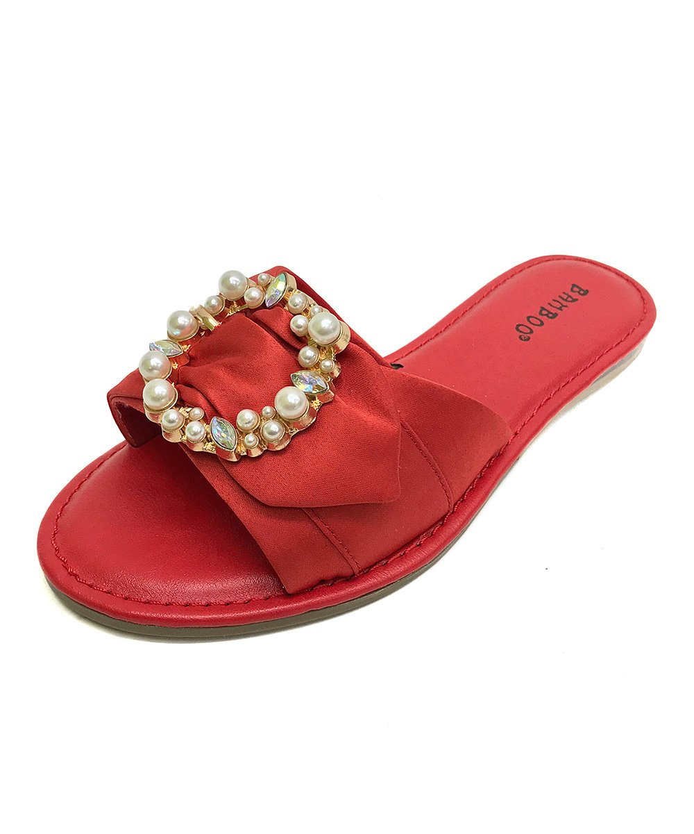 BambooShoes Women's Happiness Open Toe Slip On Pearl and Rhinestone Slide Slipper Sandals (8, Red)