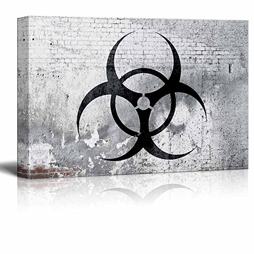 Biohazard Symbol on Shabby Wall