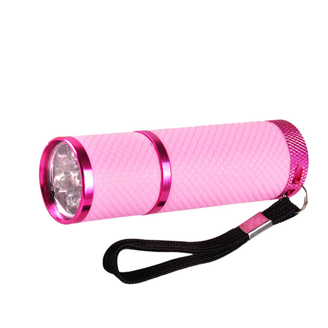 Mini 9 LED Flashlight UV Lamp For Nail Gel Fast Dryer Cure Nail Dryers Cure Manicure Tools For Women Lady Nail Art Tool H7JP Pink