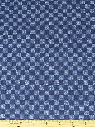 Classic Folk Art Checkerboard Fabric 2 Tone Blue Fabric by The Yard