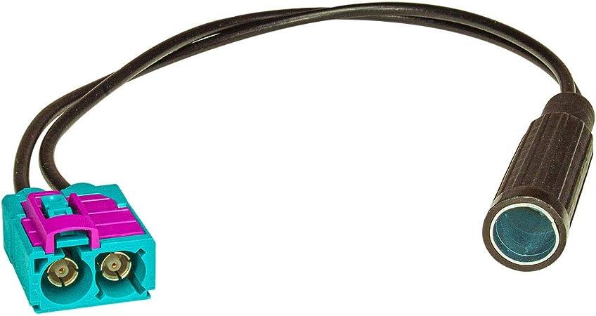 tomzz Audio 1500-030 Doble Fakra (f) Adaptador de Antena de Acoplamiento a DIN Acoplamiento (f) Compatible con Audi Seat Skoda VW