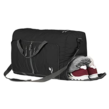 8d8581fef4f8 Image Unavailable. Image not available for. Colour  Coreal 60L Foldable  Duffel Bag Sport Gym Travel Luggage with Shoe Compartment Black