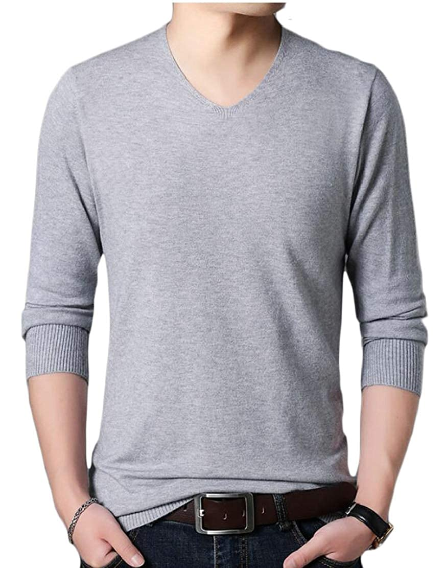 omniscient Mens Casual Slim Fit V Neck Pullover Sweaters with Twist Patterned