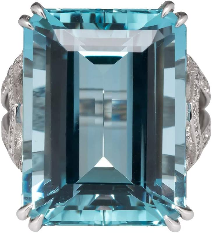 Womens Rings Geometric Rectangle Blue Aquamarine Fashion Art Gorgeous Jewelry Engagement Wedding Band Rings