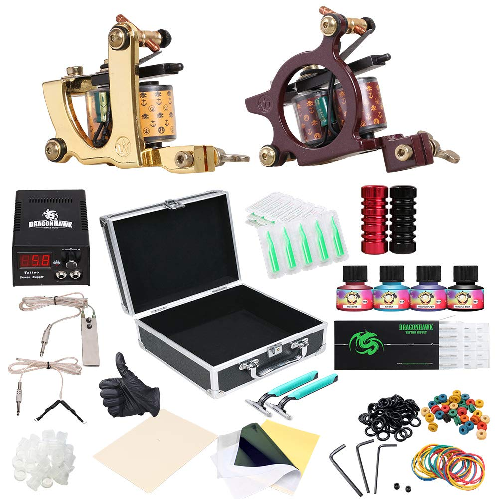 Dragonhawk Complete Tattoo Kit 2pcs Coil Tattoo Machine Tattoo Guns Color Immortal Inks Power Supply 20 Needles Tips Grips Travel Case Tattoo Supplies for Tattoo Artists 2-2YMX by Dragon Hawk
