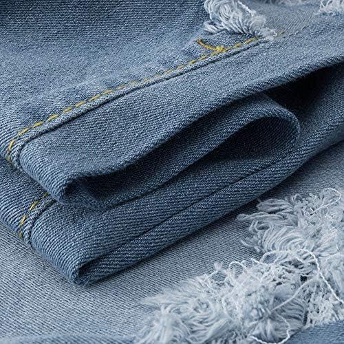 QMGLBG Code XL/Dames Mode Denim Trou Femme Taille Haute Stretch Slim Crayon Pantalon Jeans