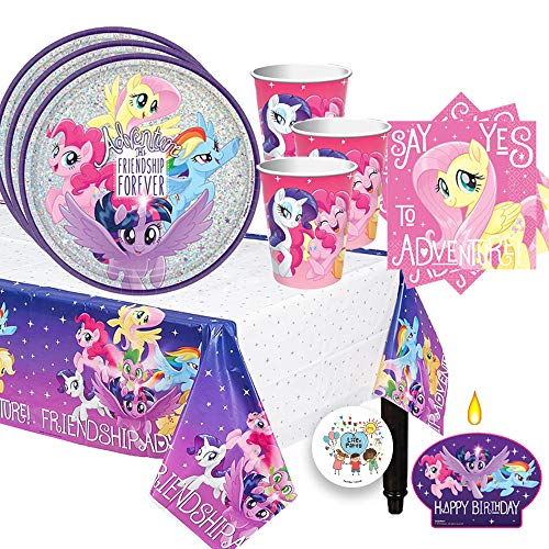 Magical My Little Pony Friendship Adventure Birthday Party Supplies Pack For 16 Guests With Prismatic Plates, Cups, Plastic Tablecover, Napkins, Birthday Candle, and Exclusive Pin By Another Dream!