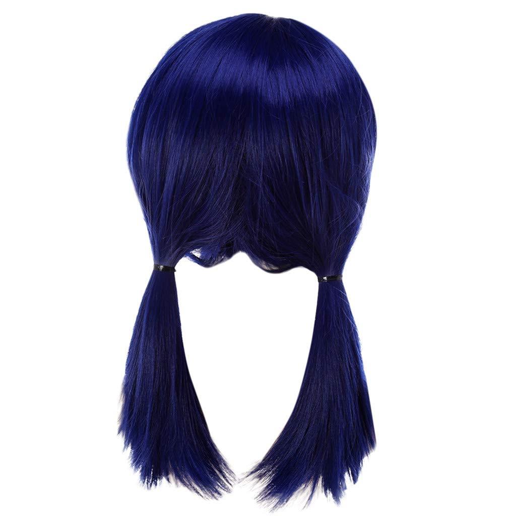 Haarstyling Produkte FORH Cosplay Perücke Haarreife Haarteile Hair Miraculous Ladybug Cos Perücke Doppel Pferdeschwanz Anime Cosplay (52CM, Lila)