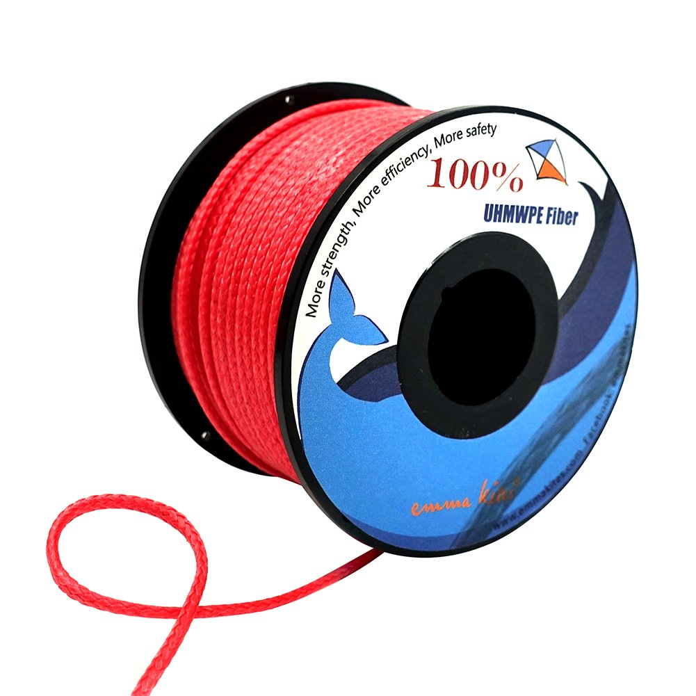 emma kites Red UHMWPE Braided Cord High Strength Least Stretch Tent Tarp Rain Fly Guyline Hammock Ridgeline Suspension for Camping Hiking Backpacking Survival Recreational Marine Outdoors 100Ft 350Lb by emma kites (Image #4)