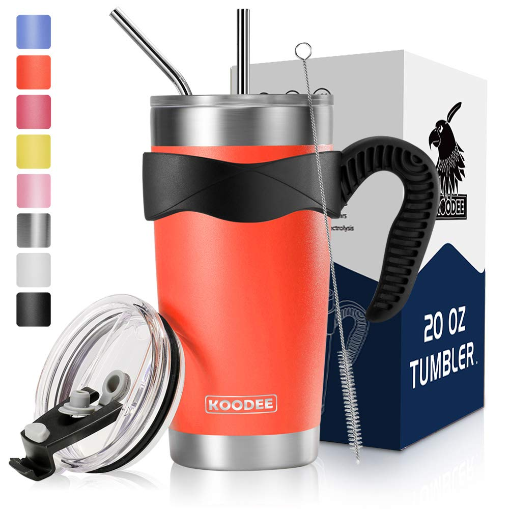 Handle Sip Lid and Leak Proof Straw Lid Gift Box Straws Brush Koodee 20 oz Orange Tumbler Insulated Smoothie Cup with Straws 20 oz, Carrot Orange