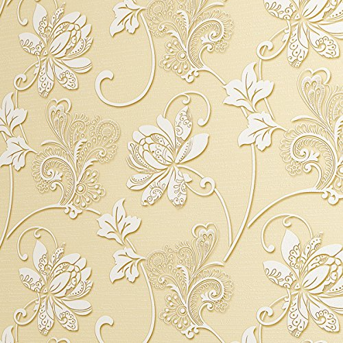 SICOHOME Thick Non-Wave Fabric Embossed Texture Flower Wallpaper,Beige