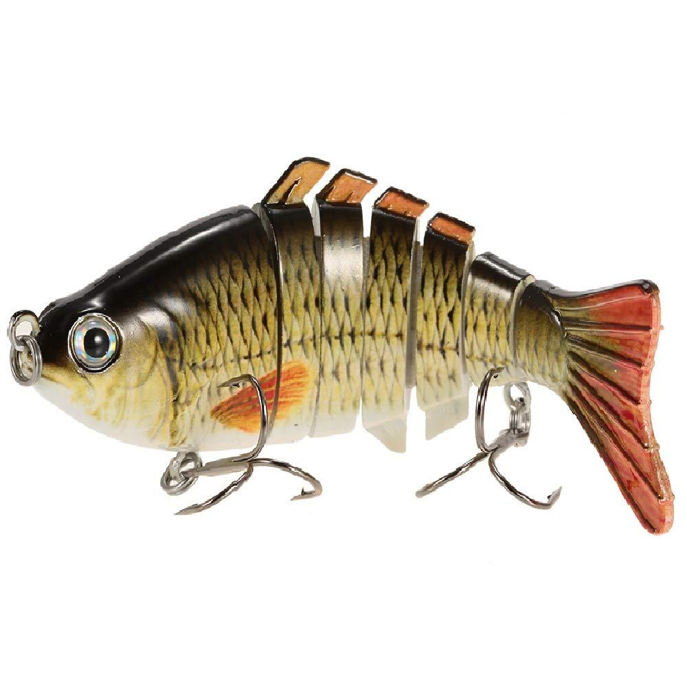 Lixada 10cm/4'' 15.5g Bionic Multi Jointed Fishing Lure SUN-FISH Lifelike Hard Bait Bass Yellow Perch Walleye Pike Muskie Roach Trout Swimbait (Style 9) by Lixada
