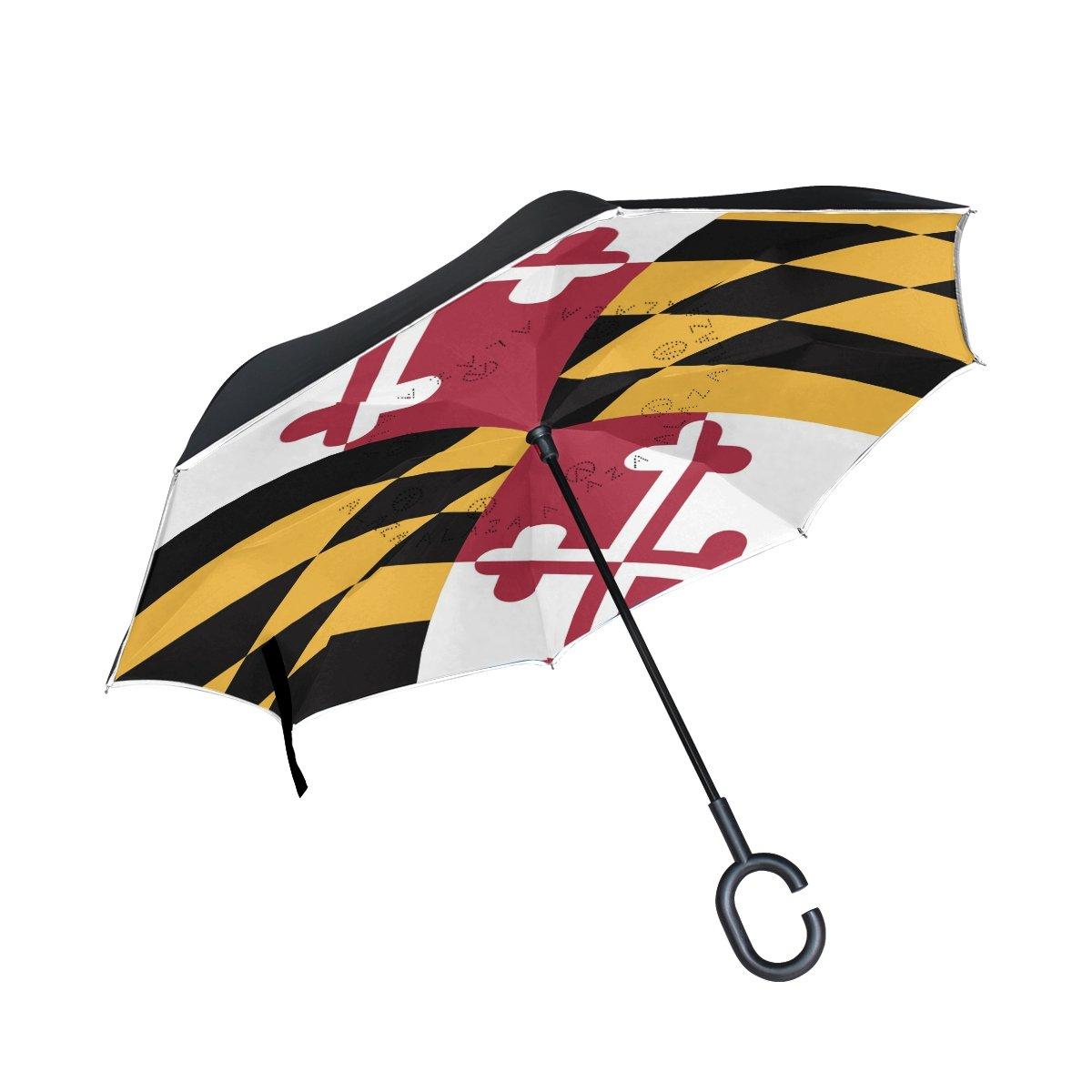 CHLBOJ Double Layer Inverted Umbrella Cars Reverse Umbrella Maryland Flag Windproof UV Proof Travel Outdoor Umbrella