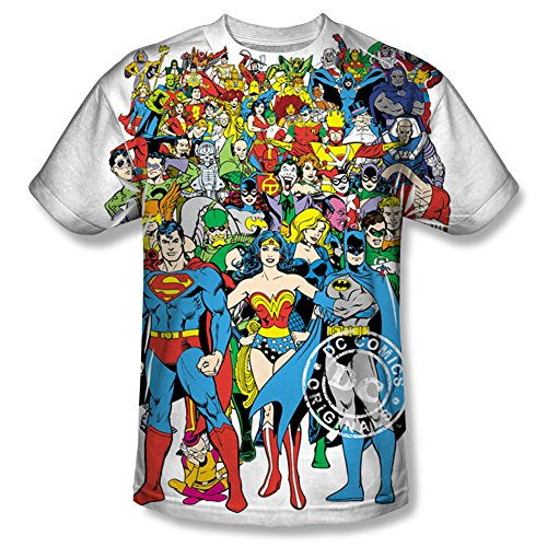 Dc Original Universe Mens Short Sleeve 100% Poly Sublimation Crew Shirt