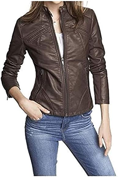 TOMJACK Leather Full Sleeves Casual Bomber Biker Jacket for Women|Girls Black