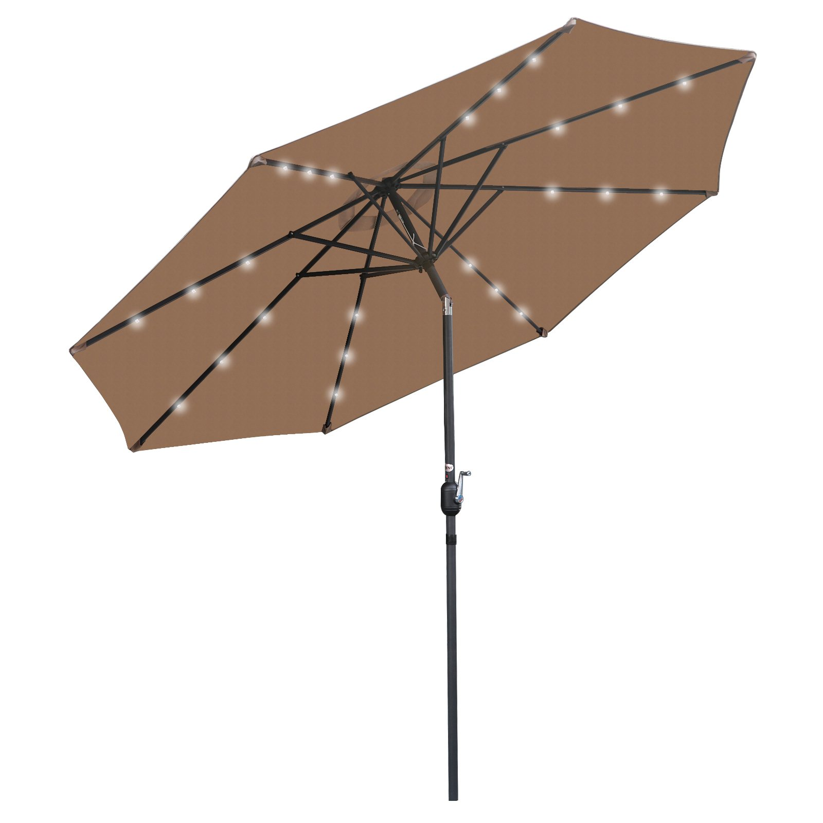 ZENY 10Ft LED Lighted Patio Market Umbrella Solar Powered Table Umbrella with Crank and Push Button Tilt for Garden Backyard Pool,Sunshade Canopy,8 Ribs