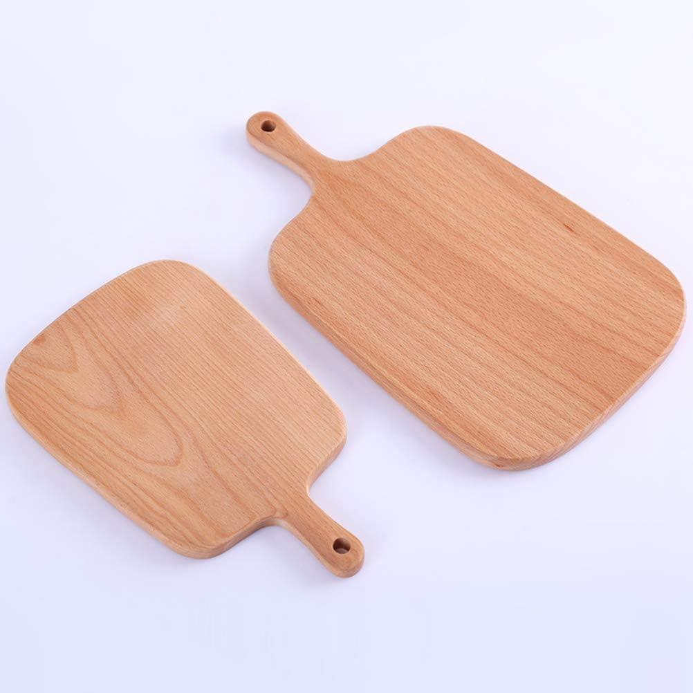BESTONZON Wood Pizza Peel Charcuterie Board Pizza Spatula Paddle Cake Bread Platter with Handle 26x16x1.5cm
