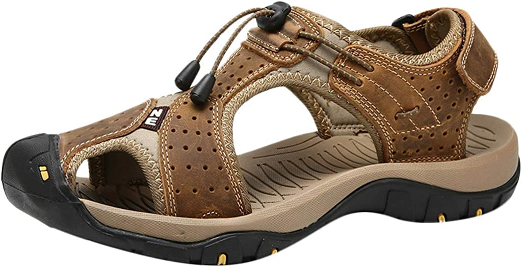 KPILP Men Shoes Leather Sandals Flats Beach Walking Hiking Athletic and Outdoor Non Slip Soft Bottom Casual Shoes Summer Essentials