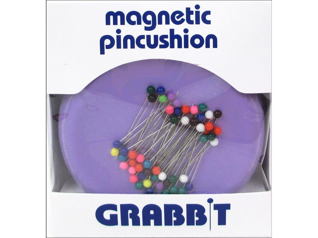 Grabbit Magnetic Sewing Pincushion with 50 Plastic Head Pins Purple