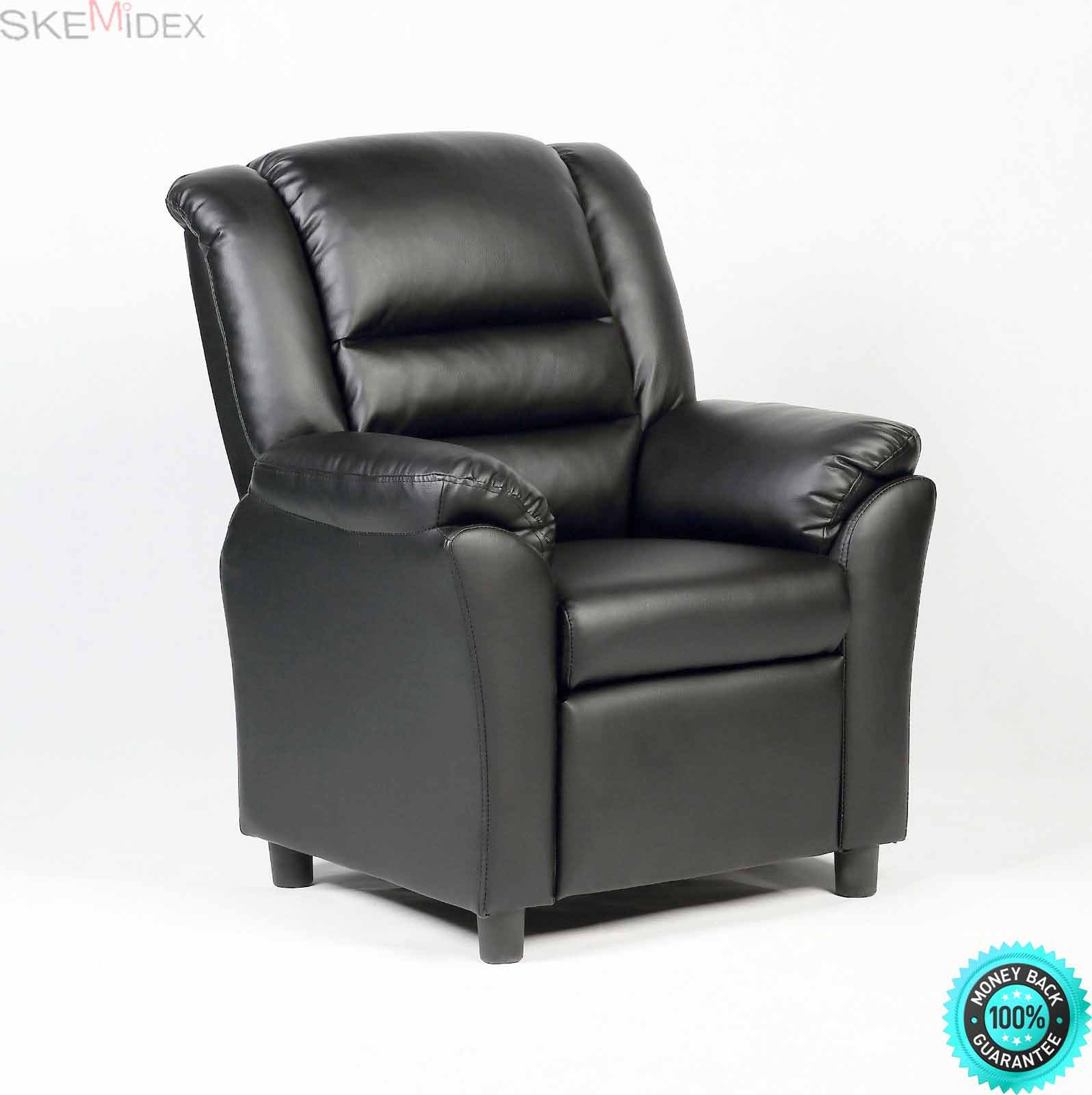 SKEMiDEX---Kids Sofa Manual Recliner Leather Ergonomic Lounge Chair Children Birthday Gift This is our deluxe ergonomic recliner sofa chair, which is a fun and multi-functional addition