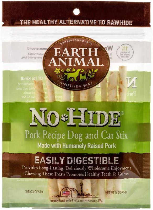 Earth Animal No-Hide Humanely-Raised Pork Stix Natural Rawhide Alternative Dog & Cat Chews, 10-Count