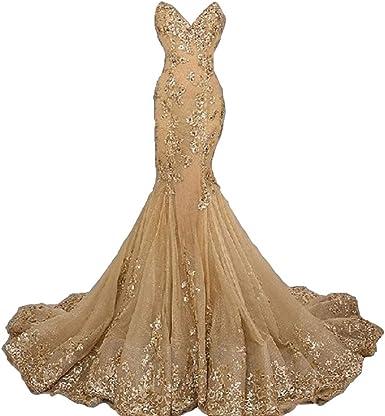 mermaid gold wedding dresses