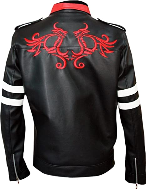 New Mens Dragon Embroidered Black Biker Leather Jackets
