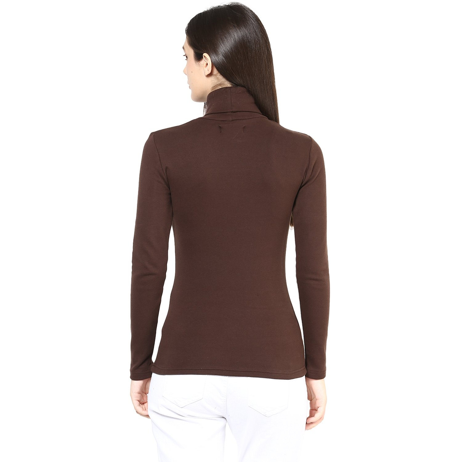 Hypernation Brown Color High Neck T-Shirt for Women  Amazon.in  Clothing    Accessories 9c19324fe