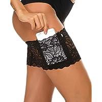 Heekpek - Bolsillo elástico para muslos para mujer, liga de encaje, cintas antideslizantes, con bolsillo para el móvil…