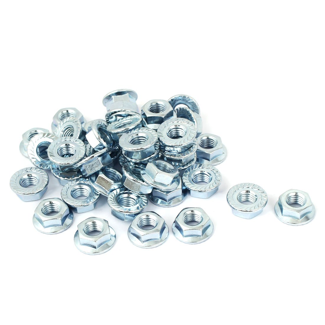 Carbon Steel 40 Pcs uxcell/® 3//8-16 Serrated Flange Hex Lock Nuts