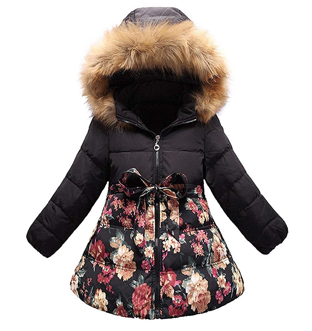 Sitmptol Big Girls' Long Winter Down Coat Flower Printing Bowknot Warm Turn Jacket Faux Fur Collar Hooded for Big Kids 18Oct07-30