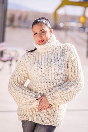 Amazoncom Hand Knit 100 Wool Sweater Chunky Sweater Turtleneck