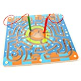 Maze Toys, Netspower Children Round Wooden Puzzle Magnet Beads Slot Maze Board Game Educational Puzzle Game Toy Set for Boys Girls Security Colorful Wooden Toys for Baby & Toddler Toys - Annular Magnetic Brush Maze Maze Track
