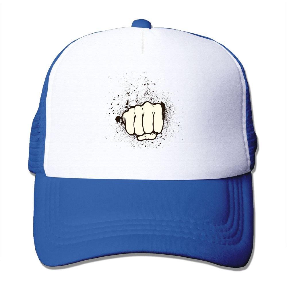 Teesofun Mesh Baseball Caps Protruding A Fist Gesture Unisex Adjustable Sports Trucker Cap