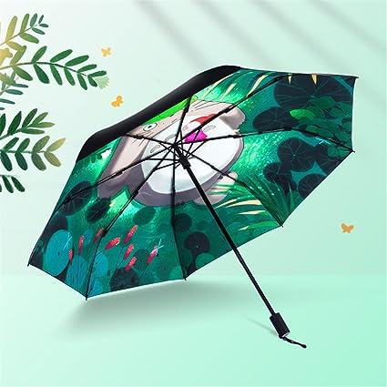 Hifuture Plegable Paraguas Anti-UV sombrilla, mi Vecino Totoro Xiaomei sombrilla , Crema Solar