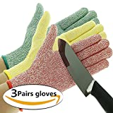 Cut Resistant Gloves, High Performance Level 5 Protection, Safety Kitchen Cuts Gloves for Oyster Shucking, Fish Fillet Processing, Mandolin Slicing, Meat Cutting and Wood Carving (3, Medium)