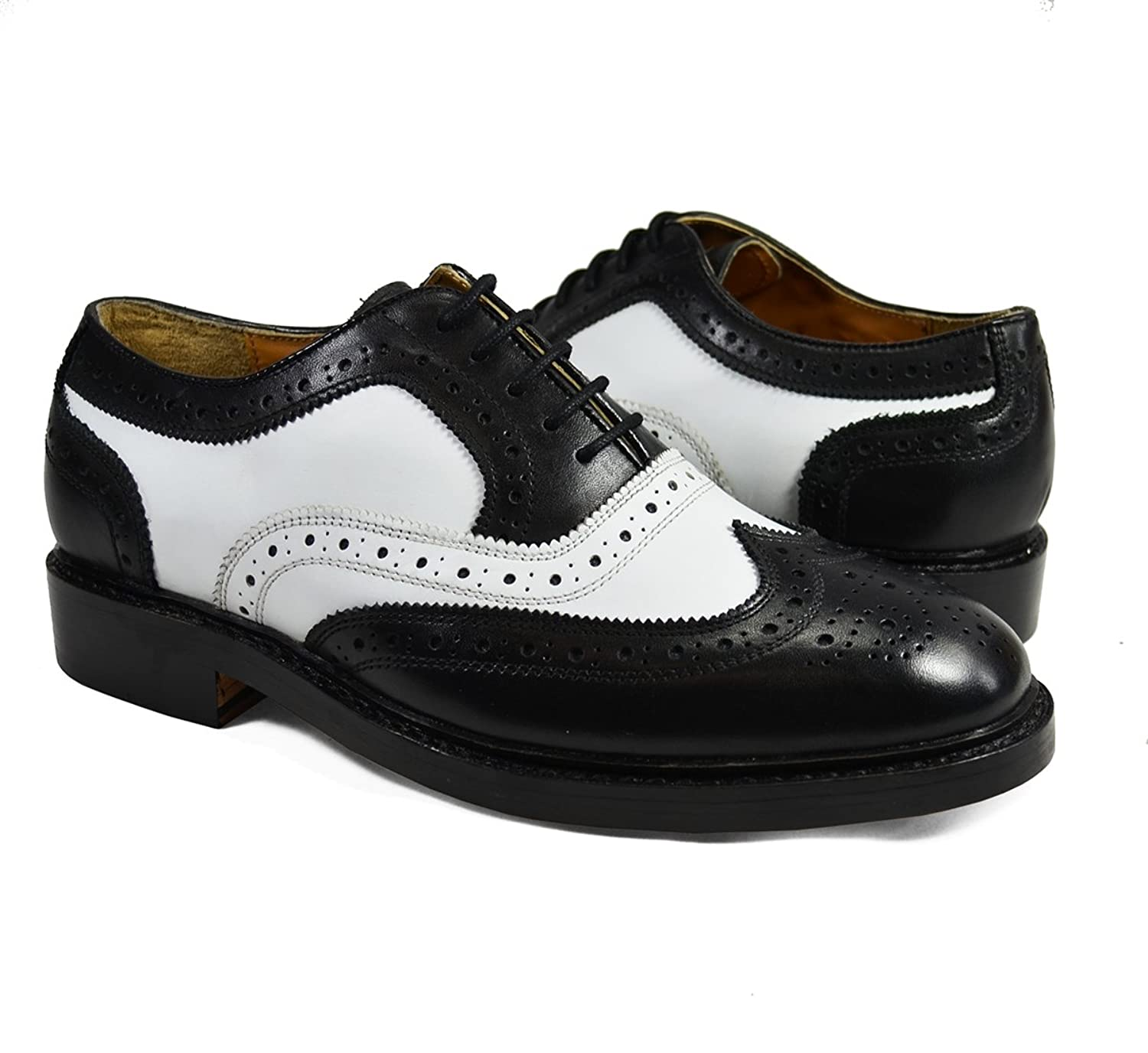 1950s Mens Shoes: Saddle Shoes, Boots, Greaser, Rockabilly Black and White Wing Tip Spectators by Paul Malone . 100% Leather  AT vintagedancer.com
