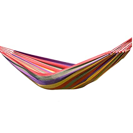 Aobiny Hammock, Outdoor Leisure Single Hammock Thick Colored Canvas Hammock