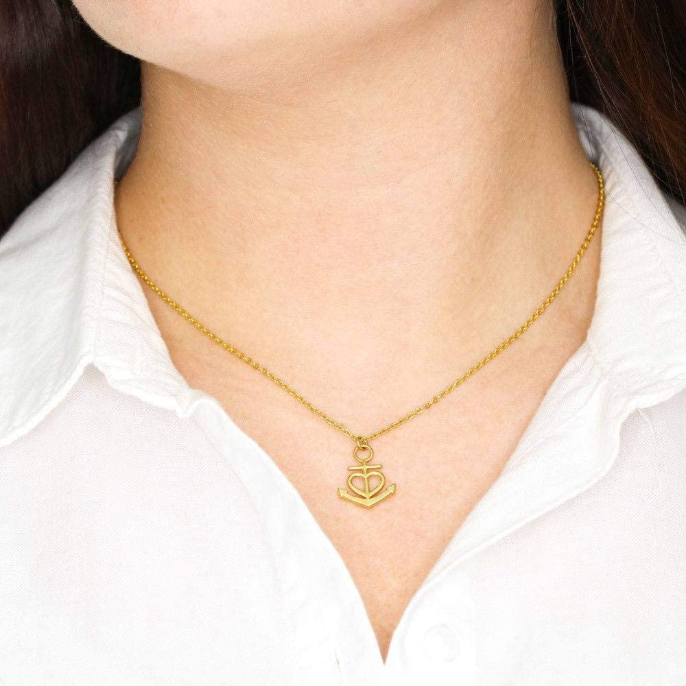 Friendship Anchor Necklace 18k Yellow Gold Finish Personalized Name Unique Gifts Store Happy Birthday Patty