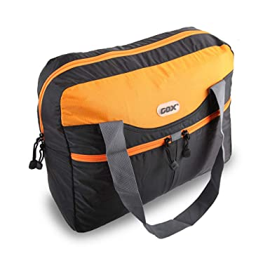 2ec8b3b555 GOX Foldable Travel Duffle Bag Light Weight Foldaway Storage Duffel Bag For  Travel Tote Bag Gym Bag Two Tone (Black Orange)  Amazon.co.uk  Clothing
