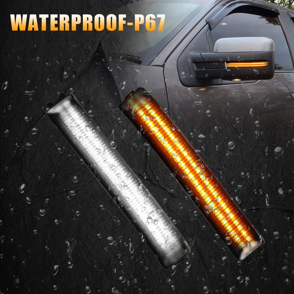 Smoke Lens LED Switchback Sequential Side Mirror Turn Signal Lights White /& Dynamic Amber Marker Light Compatible with 2009 to 2014 Ford F150 Raptor