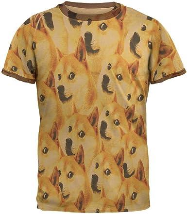 Happy Dog Doge Meme - Camiseta de Manga Corta para Hombre - Marrón - Medium: Amazon.es: Ropa y accesorios