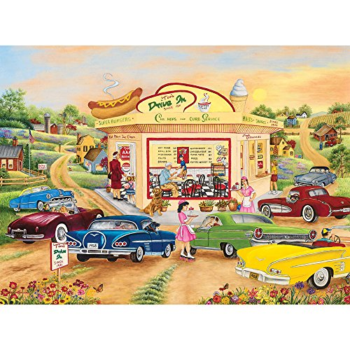 Bits and Pieces - 1000 Piece Jigsaw Puzzle - The Drive in, Classic Cars - by Artist Kay Lamb Shannon - 1000 pc Jigsaw (Kay Lamb)