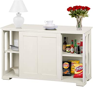 Amazon Com Topeakmart Kitchen Storage Sideboard Antique White Stackable Cabinet With Sliding Door Inner Adjustable Shelf For Home Cupboard Buffet Dining Room Use Buffets Sideboards